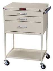 Instrument Line, Three Drawers within 12-inch Cabinet, Procedure Cart, Key Lock