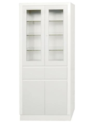 "UMF Large Instrument Cabinets, Storage & Supply Cabinet with upper section, 2 doors, 2 drawers, 31.5""W x 67""H x 15.5""D"