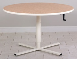 Round Top Hand Crank Adjustable Table