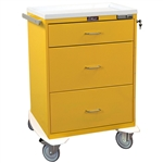 Harloff Infection Control Cart, Three Drawers, Basic Electronic Pushbutton Lock with Key Lock, Standard Package