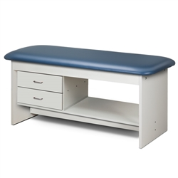 Clinton 9313 Flat Top Style Line Straight Line Treatment Table w/ Shelf and Two Drawers