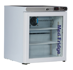 1 Cubic Foot ABS Premier Pharmacy/Vaccine Glass Door Countertop Refrigerator Freestanding Left Hinged
