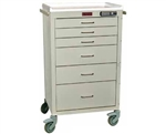 Harloff 24 Mini Cart, Aluminum, Six Drawers, Basic Electronic Pushbutton Lock with Key Lock