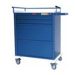 Harloff Aluminum Universal Line Wide 4 Drawer Medication Cart