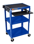 "Blue 42"" Adjustable Height Table w/Keyboard Tray"