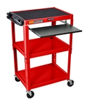"Red 42"" Adjustable Height Table w/Keyboard Tray"