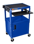"Blue 42"" Adjustable Height Table w/keyboard tray and cabinet"