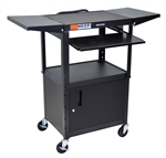 "Black 42"" Adjustable Height Table w/ Keyboard Tray, Cabinet & Dropleaf Shelf"