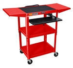 "Red 42"" Adjustable Height Table w/keyboard tray & dropleaf shelf"