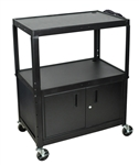 "XL 42"" Height Adjustable Steel cart w/ Cabinet"