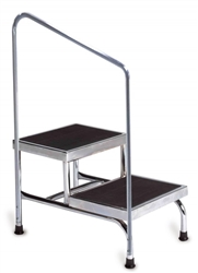 Bariatric Double Step Stool with Handrail