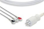 Colin One-Piece ECG Cable, 3 Leads Snap