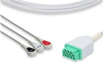GE Marquette One-Piece Compatible ECG Cable - Three Leads Snap
