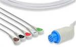 Datex-Ohmeda One-Piece Compatible ECG Cable - 5 Leads Snap