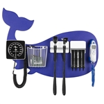 Pediatric Diagnostic Station - Blue Whale Wall Board Coaxial Ophthalmoscope (Halogen), Fiber Optic Otoscope (Halogen), Specula Dispenser, Aneroid BP, Child Cuff, Cuff Basket & Infrared Tympanic Thermometer
