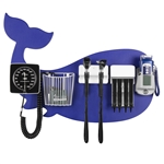 Pediatric Diagnostic Station - Blue Whale Wall Board Coaxial Ophthalmoscope (Halogen), Fiber Optic Otoscope (Halogen), Specula Dispenser, Aneroid BP, Child Cuff, Cuff Basket & Oral Digital Thermometer