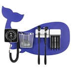 Pediatric Diagnostic Station - Blue Whale Wall Board Coaxial Ophthalmoscope (Halogen), Fiber Optic Otoscope (Halogen), Specula Dispenser, Aneroid BP, Child Cuff & Cuff Basket