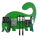 Pediatric Diagnostic Station - Dinosaur Wall Board, Coaxial Ophthalmoscope (LED), Fiber Optic Otoscope (LED), Specula Dispenser, Aneroid BP, Child Cuff, Cuff Basket & Infrared Tympanic Thermometer