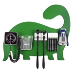 Pediatric Diagnostic Station - Dinosaur Wall Board, Coaxial Ophthalmoscope (LED), Fiber Optic Otoscope (LED), Specula Dispenser, Aneroid BP, Child Cuff, Cuff Basket & Oral Digital Thermometer