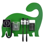 Pediatric Diagnostic Station - Dinosaur Wall Board, Coaxial Ophthalmoscope (LED), Fiber Optic Otoscope (LED), Specula Dispenser, Aneroid BP, Child Cuff & Cuff Basket