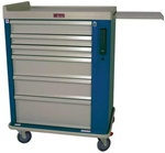 OptimAL Line, Aluminum Six Drawer Anesthesia Cart, Electronic Lock with Keypad Access