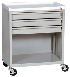 ETC Line, Three Drawer with Lower Compartment, Treatment Cart, Key Lock