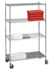 R&B Wire Linen Carts w/ Solid Bottom Shelf