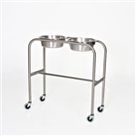 Mid Central Medical Stainless Steel Double Bowl Solution Stand