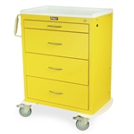 Harloff M-Series Tall Isolation Cart, Four Drawers with Key Lock