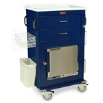 Harloff MH Cart, 1.0 Cubic Feet Medical Grade Refrigerator, Two Drawers with Breakaway Lock