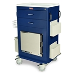 Harloff MH Treatment Cart, 1.0 Cubic Feet Medical Grade Refrigerator, Two Drawers with Key Lock