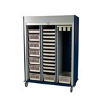 Harloff Triple Column Mobile Cabinet with Key Locking Tambour Door