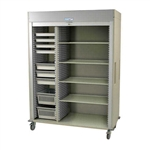 Harloff Triple Column Medical Storage Cabinet, Stainless Steel, H+H Panels, Tempered Glass Doors with Key Lock