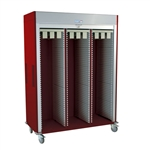 Triple Column Catheter Procedure Cart w/ Tempered Glass Double Doors