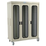Harloff Triple Column Medical Storage Cart with Tempered Glass Doors