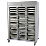 Harloff Triple Column Medical Storage Cabinet, Tambour Doors, Left Column with H+H Panels, Key Lock
