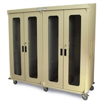 Harloff Quad Column Medical Storage Cabinet, Left with H+H Panels, Dual Tambour Doors with Key Lock