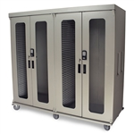 Harloff Quad Column Medical Storage Cabinet - Double Wide Open Columns - Glass Doors - Keypad E-Lock