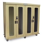Harloff Quad Column Medical Storage Cabinet - Double Wide Open Left Column - Glass Doors - Keypad E-Lock