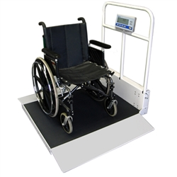 Befour MX490D Folding Wheelchair Scale w/ Handrail (Extra Deep Dual Ramp)
