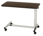 "Low Bed Economy Overbed Table - 15 x 30"" Top - H or U Base - Vanity Walnut only"