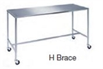 "Stainless Steel Instrument Table with Square Legs and 3"" Casters in a Variety of Styles and Sizes"