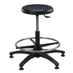 Brewer PR-2 Round Polyurethane Lab Stool w/ Adjustable Footring (ABS Plastic Base)