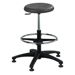 Brewer PR-3 Round Polyurethane Lab Stool w/ Adjustable Footring (ABS Plastic Base)
