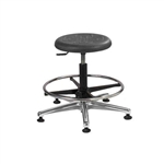 Brewer PRM-2 Round Polyurethane Lab Stool with Adjustable Footring (Aluminum Base)