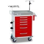 Loaded Detecto Rescue Series ER Medical Cart - Red (5-Drawers)