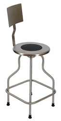 "UMF SS6700 Stainless Steel Revolving Stool with back and ring foot rest, Seat height 25""-31"""