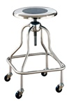 "UMF SS6701 Stainless Steel Revolving Stool with ring foot rest and no back, Seat height 25""-31"""