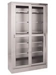 "UMF SS7816 Storage & Supply Cabinet, 5 adjustable shelves, 2 glass sliding doors, 47""W x 84""H x 16""D"