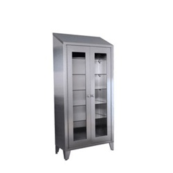 "UMF SS7834 Instrument Cabinet, 5 adjustable metal shelves, 2 glass hinged doors, 36""W x 78""H x 16""D"